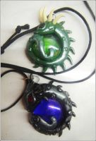 Dragon pendant - guarding glass drop